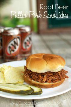 Root Beer Pulled Pork Sandwiches #crockpot #pork #sandwich #rootbeer