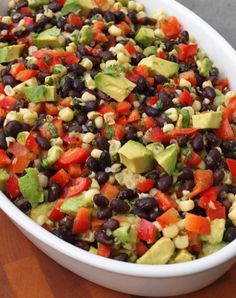 Black bean salad with corn, red peppers, avocado and lime-cilantro vinaigrette