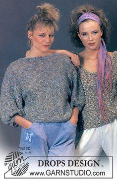 DROPS trøje med pufærmer i Tweed. ~ DROPS Design