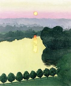 Les Andelys, Evening - Felix Vallotton - The Athenaeum Art And Illustration, Illustrations, Paul Gauguin, Henri Matisse, Henri Rousseau, Abstract Landscape, Landscape Paintings, Art Français, Pierre Bonnard
