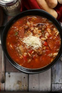 Supreme Pizza Soup totally going to make this but sub faux sausage/pepperoni for the real thing to make it vegan!