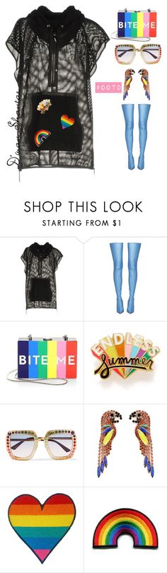 """#OOTD - PRIDE"" by adswil ❤ liked on Polyvore featuring Giuseppe Zanotti, Balenciaga, Milly, ban.do, Gucci and Elizabeth Cole"