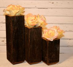 Barn Wood Vase SET of 3 centerpieces by CamilleMDesigns on Etsy, $40.99