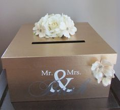 Gold Wedding Card Box, Gold Wedding Card Holder 14 Inch, Gold Gift Card Holder with Mr. and Mrs. Custom Name