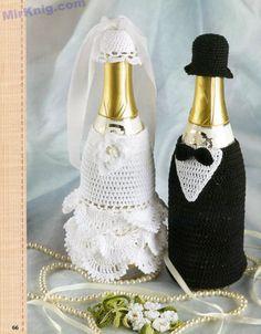 Gallery.ru / Фото #1 - Вязанные игрушки - kuritsa-kusturitsa Crochet Crafts, Crochet Toys, Crochet Projects, Knit Crochet, Wine Bottle Planter, Wedding Wine Bottles, Wine Bottle Covers, Crochet Wedding, Crochet Kitchen