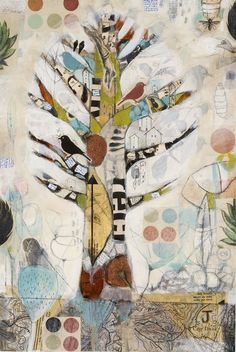 Tree of Life by Judy Paul. Fascinated by all things tree. Wanted to try this using corrugated coffee cup cozies as the tree. Art Journaling, Art Journal Pages, Tree Art, Tree Of Life Artwork, Art Journal Inspiration, Art Plastique, Collage Art, Tree Collage, Collage Ideas