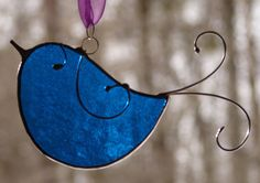 Stained Glass Little Bluebird by theglassmenagerie on Etsy