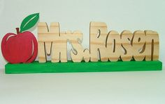 Great teacher gift, wooden name plate with an apple!