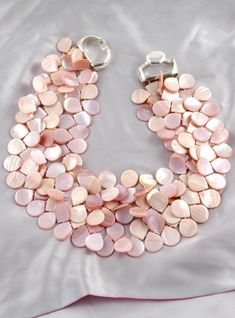 PATRICIA VON MUSULIN 3 Strands Pink Mother of Pearl Petal Necklace