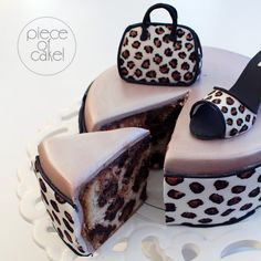 Leopard print inside & out cake