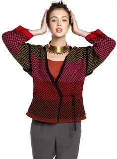 Modèle gratuit : veste kimono au point jersey jacquard à tricoter : explications gratuites à télécharger.