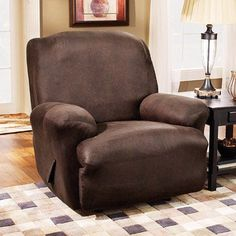 Sure Fit Stretch Leather Recliner Slipcover, Brown - Walmart.com-- have it. Trying it out.