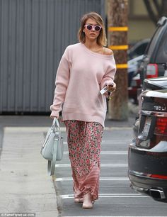 Planning: Jessica Alba co-ordinated her all-pink outfit in perfect detail - even down to the frames of her sunglasses - on Friday in Los Angeles