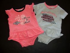 Baby GIRL DRESS ROMPERS Harley Davidson Size 12 MONTHS Lot Clothes PINK GRAY 2pc