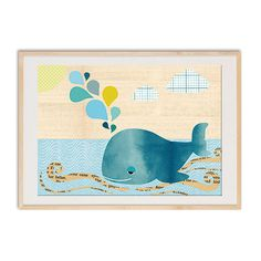 Cute Whale Collage On wood Nursery art print, nursery decor, baby nursery print, kids art, kids room decor, kids wall art,. $14.00, via Etsy.