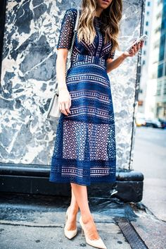 Merrick's Art // Style + Sewing for the Everyday Girl: LITTLE BLUE DRESS - glamorous dresses, store dress, red white and blue dresses women's *ad Blue Dresses, Casual Dresses, Summer Dresses, Midi Dresses, Blue Lace Midi Dress, Casual Midi Dress, Midi Dress Outfit, Navy Lace, Eyelet Dress