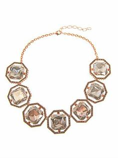 CA & LOU | Brune necklace | This rose gold-plated necklace has seven grey crystal-embellished large octagon links with a large crystal centre. The necklace has an adjustable lobster-claw and chain fastening. | £565