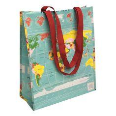 Recycled Vintage World Map Shopper Bag | DotComGiftShop