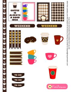 coffe mugs stickers for happy planner