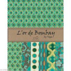 Papier scrapbooking recyclé - L'Or de Bombay - Turquoise/Vert/Or - Ass 6 feuilles 27,8 x 21,6 cm