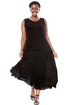 Woman Within®Sleeveless Crinkle Dress - Women's Plus Size Clothing Plus Size Black Dresses, Plus Size Outfits, Plus Size Fashion Tips, Beautiful Dresses For Women, Woman Within, Over 50 Womens Fashion, Petite Women, Curvy Fashion, Plus Size Women
