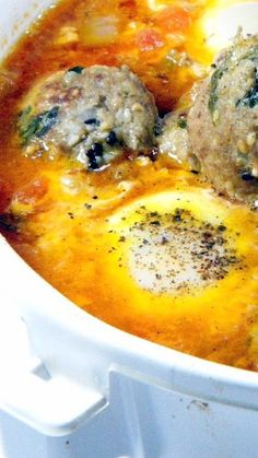 Kefta - a Meatball Tajine with Tomato and Eggs.... Meatballs and Sauce with Eggs basted in the Marinara Sauce... DELICIOUS, spectacular look and EASY... Really easy!