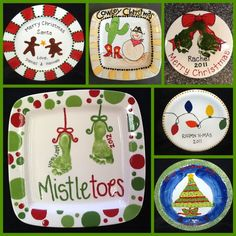 Custom #Christmas Plates #painted at #TheMadPotter #Houston