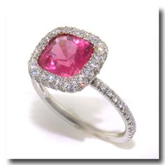 Inv. #13433  2.22ct Natural Pink Spinel and Diamond Ring, Platinum. Lawrence Jeffrey Estate Jewelers