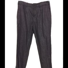 All Saints wool lined trousers back buckle peg leg Brown, grey, tiny bit of cream woven wool, size XS, side pockets, worn for 4 hours. Tapered leg All Saints Pants Ankle & Cropped