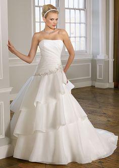 A-line Strapless Asymmetrically Ruched Bodice Embroidered Waistline Organza Wedding Dress-wa0299, $254.95