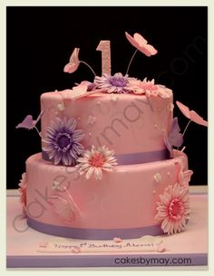 Butterflies and Daisies Birthday Cake