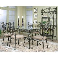 Cramco J9811 Wescot Rectangular Chiseled-Edge Glass Top Dining Table at ATG Stores