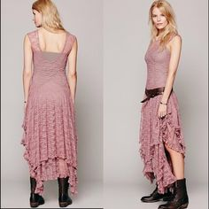 Free People Intimately French Courtship Dress Sheer lace dress with handkerchief hemline and layered lace. Dropwaist bodice and U-shaped back. Unlined. Best paired with a seamless slip of some kind! The color is a gray-brownish as shown in the second photo. The coloration appears darker if you wear a brown slip under it. If you have any questions feel free to ask! Free People Dresses Maxi