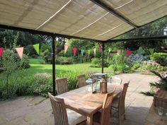 Wood Pinoleum Veranda Blinds by Grand Design Blinds Tunbridge Wells, Grand Designs, Blinds, Pergola, New Homes, Outdoor Structures, Patio, Wood, Outdoor Decor