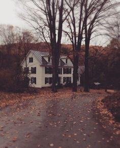 Lone house on a wet, dark, chilly Autumn day