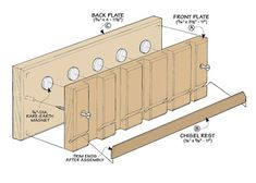 Behind each chisel, sandwiched between the two plates, is a magnet strong enough to hold even the largest chisel in place. Woodworking Workbench, Woodworking Projects, Woodsmith Plans, Dewalt Power Tools, Tool Cart, Shop Organization, Diy Furniture Plans, Tool Storage, Box Design