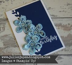 Botanicals in Navy by Julie Kettlewell. www.juliesjapes.blpgspot.com #juliesjapes #stampinup #birthdaycard