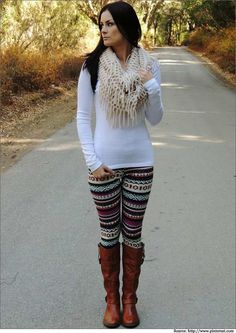 I love the looks where the tops are long enough to cover the butt a little. These are great ideas for wearing leggings!