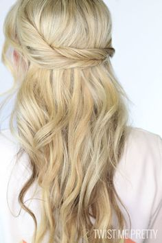 Twisted Together - The Prettiest Half-Up Half-Down Hairstyles for Summer - Photos