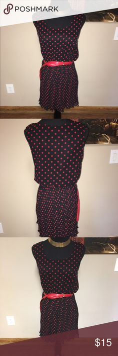 Dress Red and black polkadot dress/blouse.. can be worn with tights etc.. belt not included.. like new Poetry Dresses Mini