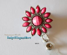 Pretty Pink Sunflower -(clear)RETRACTABLE /Swivel Reel/Spring Clip - Badge Holder BB835. $12.00, via Etsy.