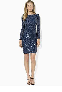 Lauren Ralph Lauren Long-Sleeve Embellished Dress! #lordandtaylor #holiday #dress