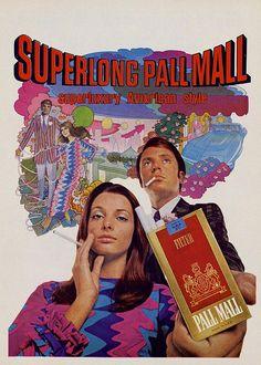 1970 cigarette ad / advertisement  ( pall mall / psychedelic / vintage style / retro fashion / graphic design )