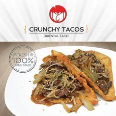 Crunchy Tacos Crujiente envoltura con relleno de carne de res pollo o cerdo con retoño de soya cebolla y ajonjoli en salsa de soya. #leifong #comidachina 2563-7541.