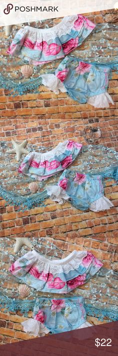 Newborn Baby off the shoulder 2pc Sun Suit Adorable baby girl outfit! Precious 2 piece Sun Suit is ocean blue and pink floral design with eyelet lace accent. Matching Sets