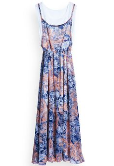 Orange Sleeveless1 Abstract Print Chiffon Long Dress US$23.77