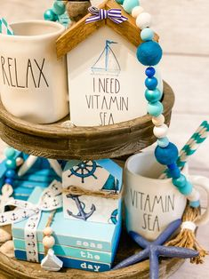 Beach Room Decor, Beach House Decor, I Need Vitamin Sea, Diy Arts And Crafts, Diy Crafts, Tray Styling, Wooden Books, Cricut, Tier Tray