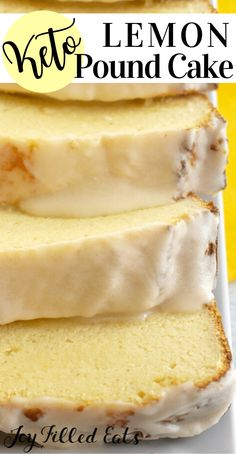 Keto Lemon Pound Cake is the delicious moist dessert you have been waiting for. Zesty lemon is the star in the cake as well as in the decadent lemon glaze. Carb Free Desserts, Low Sugar Desserts, Low Carb Deserts, Lemon Desserts, Carb Free Foods, Sugar Free Recipes Dinner, Low Sugar Recipes, Diet Desserts, Comida Diy