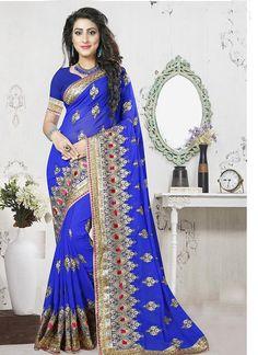#Blue #Georgette #Designer #Saree #nikvik  #usa #designer #australia #canada #freeshipping #fashion #dress #sarees #sale