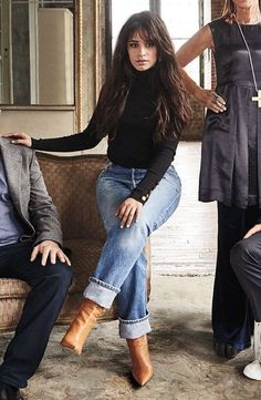 Camila Cabello wears an A. Black Sweaters and tan Boots Jeans Outfit Summer, Casual Fall Outfits, Fall Winter Outfits, Trendy Outfits, Fashion Outfits, Womens Fashion, Blue Jean Outfits, Cowgirl Outfits, Black Sweaters
